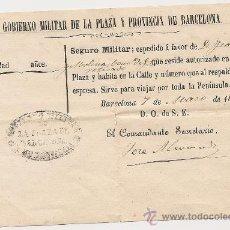 Militaria: SEGURO MILITAR PARA VIAJAR POR TODA LA PENÍNSULA DEL AÑO 1870.. Lote 29953725