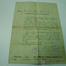 Militaria: DOCUMENTO TITULO DE ASCENSO A CABO DEL CUERPO DE LA POLICIA ARMADA - AÑO 1.941. Lote 49488273