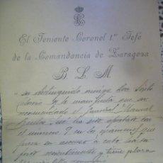 Militaria: CARTA TENIENTE CORONEL COMANDANCIA DE ZARAGOZA 6 ABRIL 1915 DOCUMENTO ORIGINAL. Lote 30128218