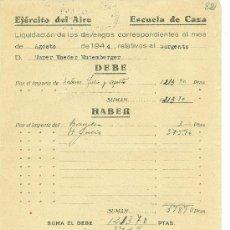 Militaria: + EJERCITO DEL AIRE MORON DE LA FRONTERA ESCUELA DE CAZA. ANTIGUO DOCUMENTO AÑO 1944. Lote 30245569