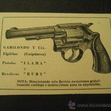 Militaria: REVOLVERS RUBY, GABILONDO Y CIA. ELGOIBAR. PUBLICIDAD DE REVISTA DE LOS AÑOS 50. Lote 113118536