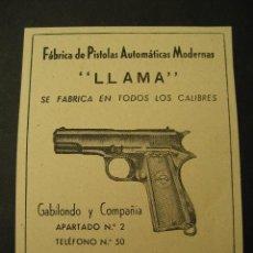 Militaria: ARMAS, PISTOLAS LLAMA, GABILONDO Y CIA, ELGOIBAR. PUBLICIDAD DE REVISTA DE LOS AÑOS 50. Lote 113118546