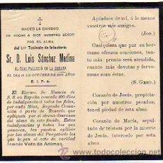 Militaria: RECORDATORIO FUNEBREL GUERRA DE CUBA. TENIENTE INFANTERIA LUIS SANCHEZ MEDINA. CUBA 1898. Lote 31172885