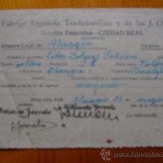 Militaria: DOCUMENTO FALANGE ESPAÑOLA TRADICIONALISTA Y DE LAS JONS. SECCIÓN FEMENINA DEL AÑO 1939. Lote 31221992