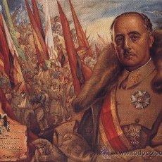 Militaria: CUADRO RETRATO EN MADERA 50X35 CM. FRANCISCO FRANCO CAUDILLO DE ESPAÑA. PARTE DE GUERRA. Lote 106821492