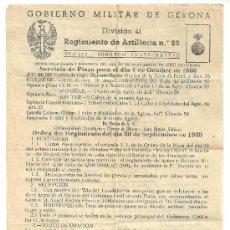 Militaria - GOBIERNO MILITAR DE GERONA REGIMIENTO ARTILLERIA Nº 22 - 31329796