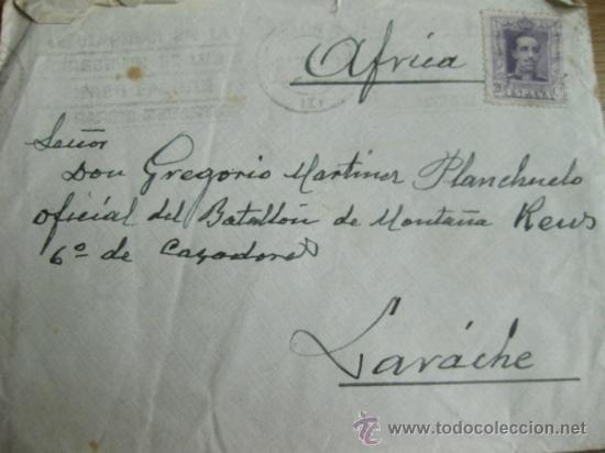 Militaria: CARTA ENVIADA A UN OFICIAL DEL BATALLON DE MONTAÑA REUS - AFRICA - LARACHE - Foto 2 - 31513855