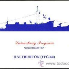 Militaria: USA BOTADURA FRAGATA LANZAMISILES USS HALYBURTON. Lote 31981439