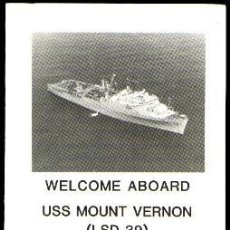 Militaria: WELCOME ABOARD ANFIBIO USS MOUNT VERNON LSD-39. Lote 31982073