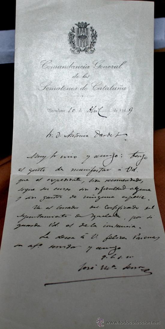 DOCUMENTOS DE SOMATENES CATALANES-IGUALADA (Militar - Propaganda y Documentos)