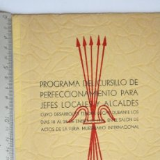 Militaria: PROGRAMA CURSILLO JEFES LOCALES VALENCIA 1945 FALANGE ESPAÑOLA DE LAS JONS PRIMO DE RIBERA FRANCO. Lote 32196429
