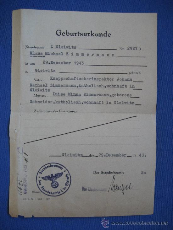 DOCUMENTO ORIGINAL ALEMANIA WW2 100 %100 AUTÉNTICO NSDAP (Militar - Propaganda y Documentos)