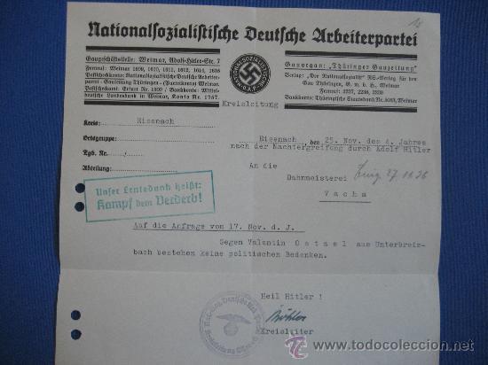 Militaria: DOCUMENTO ORIGINAL ALEMANIA WW2 100 %100 AUTÉNTICO NSDAP - Foto 2 - 32237733