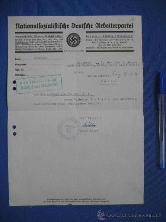 Militaria: DOCUMENTO ORIGINAL ALEMANIA WW2 100 %100 AUTÉNTICO NSDAP - Foto 5 - 32237733