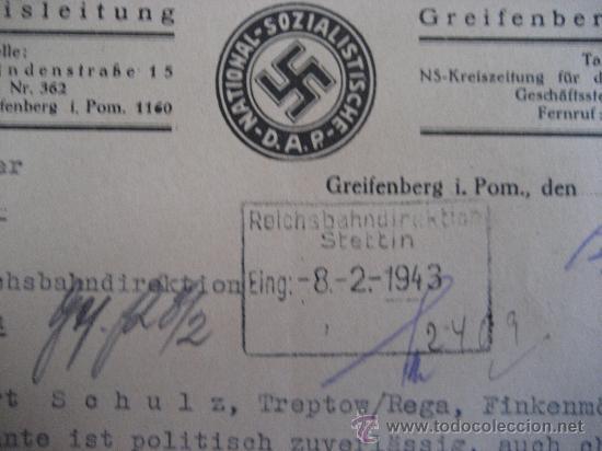 Militaria: DOCUMENTO ORIGINAL ALEMANIA WW2 100 %100 AUTÉNTICO NSDAP - Foto 3 - 32238233