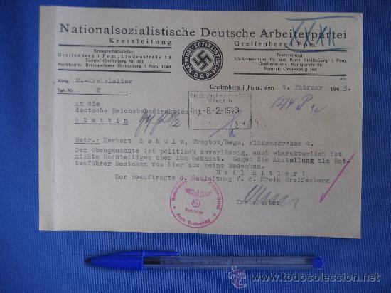 Militaria: DOCUMENTO ORIGINAL ALEMANIA WW2 100 %100 AUTÉNTICO NSDAP - Foto 4 - 32238233