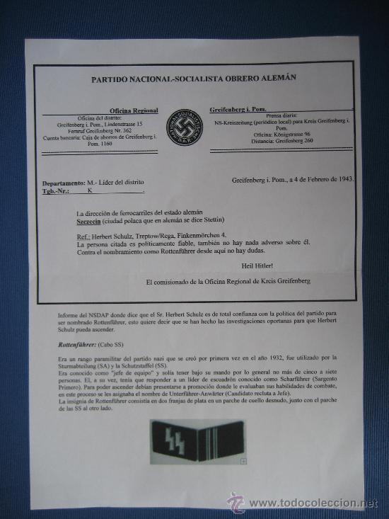 Militaria: DOCUMENTO ORIGINAL ALEMANIA WW2 100 %100 AUTÉNTICO NSDAP - Foto 5 - 32238233