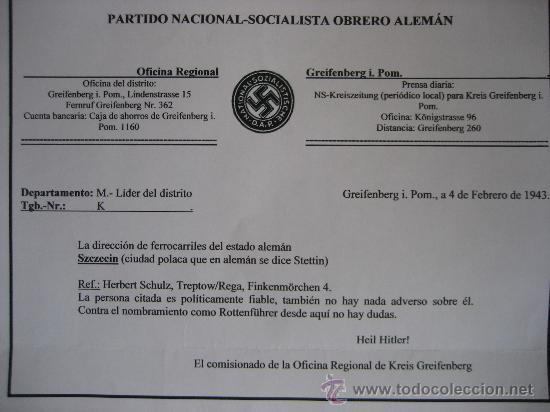 Militaria: DOCUMENTO ORIGINAL ALEMANIA WW2 100 %100 AUTÉNTICO NSDAP - Foto 6 - 32238233