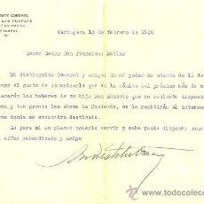 Militaria: CARTA CON MEMBRETE A GENERAL DEL TENIENTE CORONEL JEFE DE INFANTERÍA DE MARINA DE CARTAGENA - 1932 . Lote 32688769