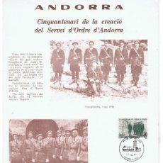 Militaria: MATASELLO PRIMER DIA ANDORRA ESPANYOLA 1981 CINCUENTENARI SERVICIO DE ORDEN. Lote 32712132