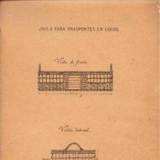 Militaria: COLOMBOFILIA. PLANOS DE LAS JAULAS PARA EL TRANSPORTE DE PALOMAS MENSAJERAS.FOLIO 4 HOJAS.CIRCA 1900. Lote 32745119