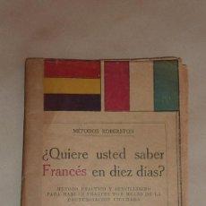 Militaria: LIBRO QUIERE USTED SABER FRANCES EN DIEZ DIAS? 1934. CON BANDERA ESPAÑOLA REPUBLICANA. DICCIONARIO. Lote 32781840