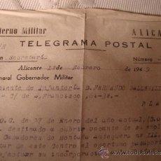 Militaria: ANTIGUO TELEGRAMA POSTAL GOBIERNO MILITAR ALICANTE, DEL GENERAL GOBERNADOR MILITAR AÑO 1949. Lote 33049429