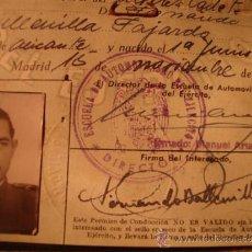 Militaria: ANTIGUA DOCUMENTACION CARNET CODUCCION ESCUELA AUTOMIVILISMO MILITAR, ALICANTE, AÑO 1948. Lote 33058598