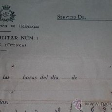 Militaria: DOCUMENTO HOSPITAL MILITAR DE UCLES, GUERRA CIVIL. Lote 38965349
