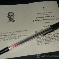 Militaria: ESQUELA O RECORDATORIO, MISA POR CARLOS VIII DE BORBON 1954. CARLISTA.. Lote 33273901