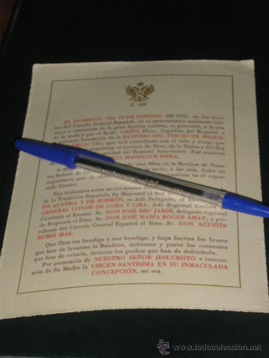 SOLEMNE BENDICION DE LA BANDERA DEL TERCIO DE REQUETES CARLOS VII. CARLISTA. (Militar - Propaganda y Documentos)