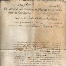 Militaria: 1920 CARTAGENA PASE A SEGUNDA SITUACION DE SERVICIO SOLDADO DE INFANTERIA DE MARINA 3 REGIMIENTO. Lote 33387528