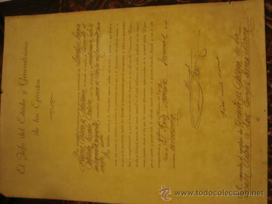 Militaria: documento militar, jefe del estado y generalisimo ejercitos, capitan general , teniente, alferez - Foto 2 - 33770154