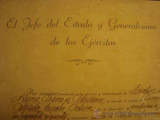 Militaria: documento militar, jefe del estado y generalisimo ejercitos, capitan general , teniente, alferez - Foto 26 - 33770154
