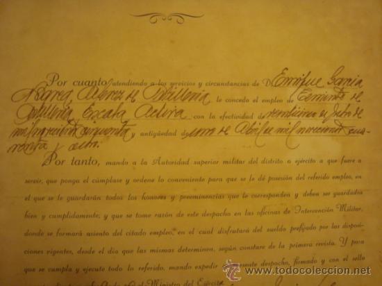 Militaria: documento militar, jefe del estado y generalisimo ejercitos, capitan general , teniente, alferez - Foto 25 - 33770154