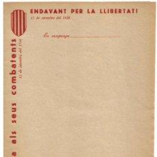 Militaria: GUERRA CIVIL ESPAÑOLA,REPUBLICA,EJERCITO POPULAR,CATALUÑA, PAPEL DE CARTA AÑO 1938 PARA MILICIANOS. Lote 33751792