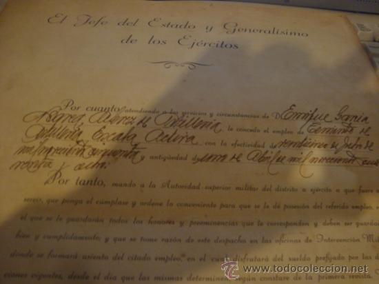 Militaria: documento militar, jefe del estado y generalisimo ejercitos, capitan general , teniente, alferez - Foto 12 - 33770154
