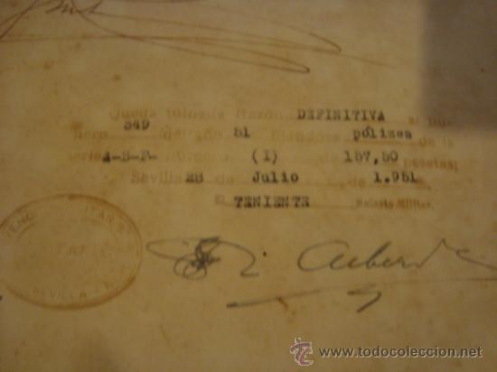 Militaria: documento militar, jefe del estado y generalisimo ejercitos, capitan general , teniente, alferez - Foto 7 - 33770154