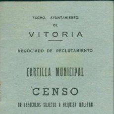 Militaria: CENSO VEHICULOS SUJETOS A REQUISA MILITAR, VITORIA, 1963. Lote 34150136
