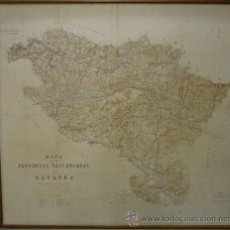 Militaria - Mapa de las Provincias Vascongadas y Navarra. 3ª Guerra Carlista. En tela. 110 x 116 cm. - 34177716