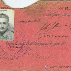 Militaria: BARCELONA. REGIMIENTO DE INFANTERIA. AMETRALLADORAS. PASE DE PERNOCTA. AÑO 1944. Lote 34179457