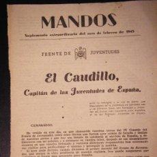 Militaria: RECORTE REVISTA MANDOS, SUPLEMENTO EXTRAORDINARIO FEBRERO 1943, FRENTE JUVENTUDES, EL CAUDILLO. . Lote 34227957