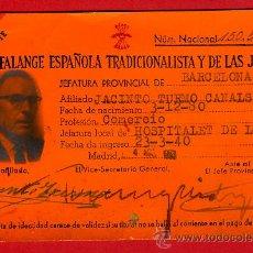 Militaria: CARNET FALANGE ESPAÑOLA TRADICIONALISTA Y DE LAS JONS, 1940, ORIGINAL. Lote 34316652