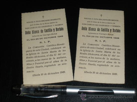 CARLISMO, MISA POR DOÑA BLANCA DE CASTILLA Y BORBON, MADRE DE CARLOS VIII, UBEDA 1949. (Militar - Propaganda y Documentos)