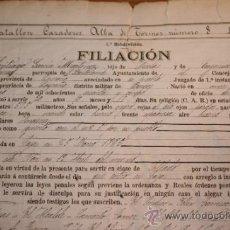 Militaria: BATALLÓN CAZADORES ALBA DE TORMES. CUSRIOSO CERTIFICADO DE SOLDADO EN 6 AÑOS DE MILI DESDE 1885.. Lote 34504070