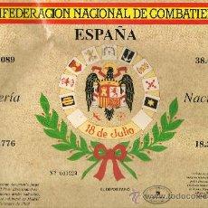 Militaria: PARTICIPACIÓN DE LOTERIA DE LA CONFEDER. NACIONAL DE COMBATIENTES DE LA DIVISIÓN AZUL Y GUERRA CIVIL. Lote 34705559