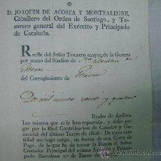 Militaria: FIRMA DE JOAQUIN DE ACOSTA.TESORERO DEL EXERCITO Y PRINCIPADO DE CATALUÑA. 1807. . Lote 34849291