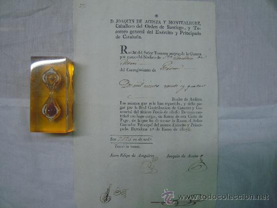 Militaria: FIRMA DE JOAQUIN DE ACOSTA.TESORERO DEL EXERCITO Y PRINCIPADO DE CATALUÑA. 1807. - Foto 2 - 34849291
