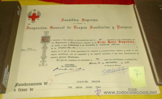 CRUZ ROJA ESPAÑOLA. NOMBRAMIENTO INSPECTOR TERCERO, BRIGADA TROPAS DE SOCORRO NUM 40 DE SEVILLA-1962 (Militar - Propaganda y Documentos)