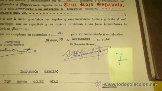 Militaria: Cruz Roja Española. Nombramiento INSPECTOR TERCERO, Brigada TROPAS DE SOCORRO num 40 de SEVILLA-1962 - Foto 2 - 34853560